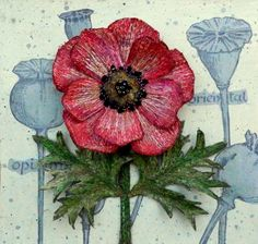 'Shirley' Poppy - 3D - Botanical - Textile Art -  Corinne Young - www.corinneyoungtextiles.co.uk