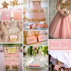 Pink and Gold Wedding Colors - Pink and Gold has an opulent, glamorous appearance. It works for spring, summer and winter weddings. In this color-story collage we used a soft, ballet pink.