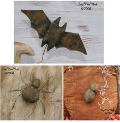 Primitive Halloween Bats and Spiders e-Pattern