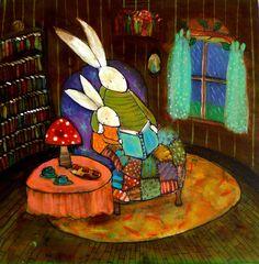 Bunny Readers on a Rainy Day by Johanna Wright