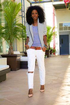 Striped Blazer + Tank + Distressed Jeans