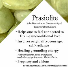 Prasiolite crystal meaning Prasiolite crystal meaning Gems And Minerals, Crystals Minerals, Crystals And Gemstones, Stones And Crystals, Gem Stones, Crystal Magic, Crystal Healing Stones, Reiki, Prasiolite