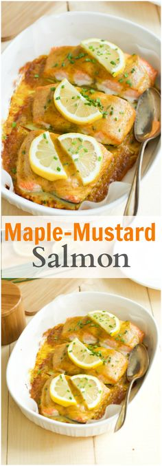 Get this easy to follow Maple-Mustard Salmon healthy recipe today. All you need is only 4 ingredients to make this sweet and tangy flavourful dish. primaverakitchen.com