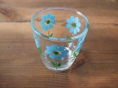 Vintage Blue Flower Tumbler Clear Glass by jessamyjay on Etsy