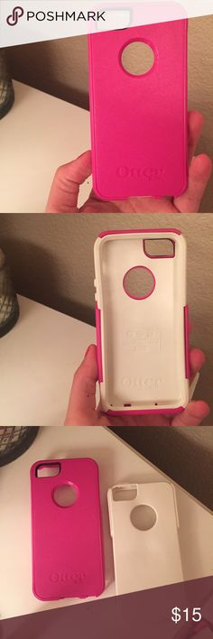 Pink OtterBox for iPhone 5/5s Used once iPhone 5/5s OtterBox case. Pink and white, two pieces. Great condition! Retails for $40. OtterBox Accessories Phone Cases