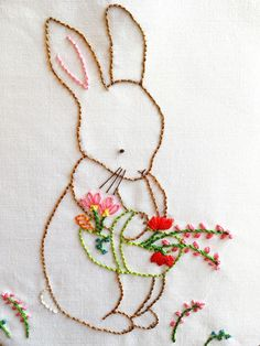 Vintage Embroidery Patterns Bunny Embroidery Pattern Hand Embroidery Pattern Over the Embroidery Transfers, Embroidery Patterns Free, Hand Embroidery Stitches, Hand Embroidery Designs, Vintage Embroidery, Ribbon Embroidery, Floral Embroidery, Quilt Patterns, Machine Embroidery