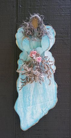 Handmade, Primitive, Shabby Chic,hand painted,  Angel with flowers
