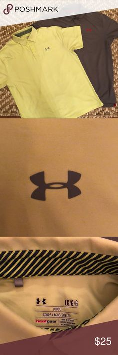 2 Under Armour polos. Grey and neon yellow LARGE 2 Under Armour heat gear polos. Both size LARGE. Gently worn. No snags or pulls.performance fabric. Under Armour Shirts Polos