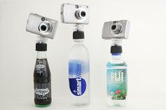 recycled waterbottle turned into tripod.