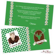 Das Design dieser Einladungskarte zum Oktoberfest ist traditionell mit Edelweiß, Karomuster und Hirschgeweih geschmückt. Bei der Gestaltung mit eigenem Foto kann unter dem Bild ein kurzer Spruch gedruckt werden. Möchten Sie kein eigenes...