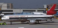 On the middle picture a DC-10-40 is seen in an old 'Northwest Orient' colour scheme at Frankfurt and on the photograph below is a DC-10-30 in Northwest's 1990s livery taxiing at Schiphol.