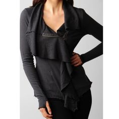 """Free People front ruffle terry sweater Dark gray """"worn"""" color. Frayed edges. Zipper in front. 100% cotton. Terry on the inside Free People Tops Tees - Long Sleeve"""