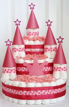 KB - you'll have to consider this for the next time you know someone having a girl: castle diaper cake. Perfect for a little princess!!!