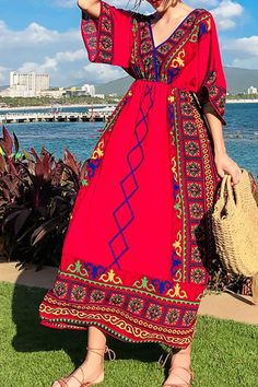a4f1ee641a92c Bohemian Printed Colour Slim vacation dresses mexico Boho Dress vacation  dresses beach vacation dresses casual summer