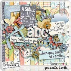 Digital Scrapbook Kit - You Smile, I Smile Kit by Bella Gypsy Designs.