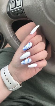 White and blue marble coffin nails ring finger nails, dope nails, cute nail designs Marble Acrylic Nails, Summer Acrylic Nails, Acrylic Gel, White Acrylics, Simple Acrylic Nail Ideas, Pastel Nails, Gorgeous Nails, Pretty Nails, Cute Simple Nails