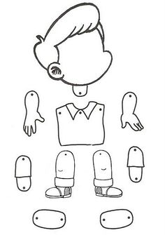 little boy puppet - coloring page Paper Puppets, Paper Toys, Preschool Worksheets, Preschool Activities, Body Preschool, English Activities, Toddler Crafts, Kids Education, Pre School