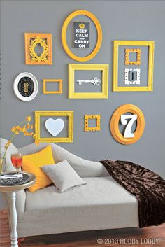 Redress your favorite space with a scattering of these delightful designer frames. Simply mix and match shapes and sizes (even paint them!) to transform your space from plain Jane to perfectly framed! It's decorating in an instant! - yellow on grau Frames On Wall, Painted Frames, Empty Frames, My Room, House Colors, Diy Home Decor, Bedroom Decor, Design Inspiration, Design Ideas