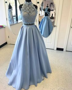 Two Pieces Light Blue High Neck Prom Dresses With Crystals 2017 Backless Prom Gowns Lace Satin Customize Evening Dress Zipper Back 2017 Sexy Two Piece Prom Dresses High Collars Dresses Sweep Train Beads Evening Dress Online with $150.86/Piece on Yaostore's Store | DHgate.com