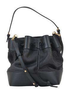 Midnight leather and striped canvas bucket bag Loewe 0wTJ47QdQ