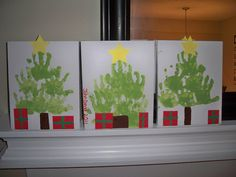 made these handprint Christmas trees today with John David. One for each of his grandmas and one for me to keep :)