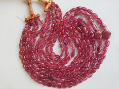 Ruby Necklace, Strand Necklace, Indian Jewelry, Red And Pink, Crochet Earrings, My Etsy Shop, Jewelry Design, Handmade Items, Shapes