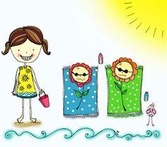 ilustração - illustration - girl - menina - praia - beach