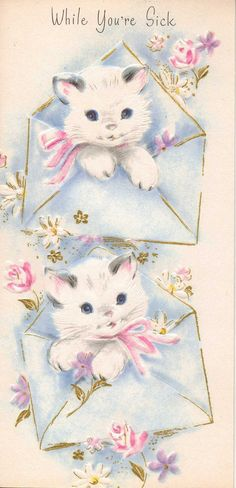 Kittens Get Well Card 1950s 1960s NOS by DarisTreasures on Etsy