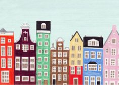 Scandinavian Dutch Amsterdam,  Colorful 5 x 7 Illustration Art Giclee Print for Wall and Home Decor, red, green, blue, orange, yellow
