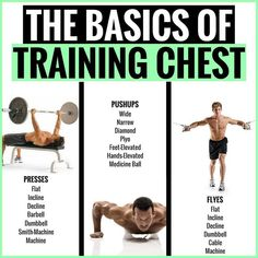 THE BASICS OF TRAINING CHEST! There are dozens of crucial and effective exercises to choose from to sculpt your chest into colossal proportions. See that will make your chest grow. New exercises replace old basics, rep ranges lengthen Whole Body Workouts, Chest Workouts, Gym Workouts, Chest Exercises, Workout Routines, Lifting Programs, Workout Programs, Body Building Tips, Mass Building