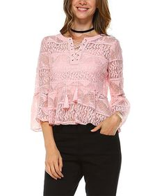 Pink Lace Bell-Sleeve Top