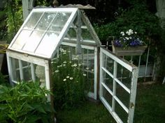 GREENHOUSE MADE  OUT OF OLD WINDOWS & ARCHITECTURE