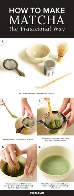 Have you ever wondering how to make matcha (aka finely ground green tea, traditionally served in Japan but it's even used at Starbucks!) Use a bamboo whisk to turn the emerald green powder and hot water into a foamy, frothy beverage! It's slightly tannic and grassy with water alone — so you can definitely add sugar, honey, agave as well as the milk of your choice to make it smoother and sweeter.