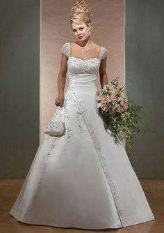 Fascinating A-Line/Princess Sweetheart Chapel Train Satin Wedding Dress with Embroidery Beadwork