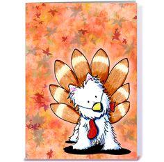 Gobble Gobble Westie KiniArt Thanksgiving card