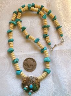 """Cool Ocean Sky Colors Begay Navajo Silver Concho Kingman Turquoise Necklace 19""""L in Jewelry & Watches, Ethnic, Regional & Tribal, Native American 