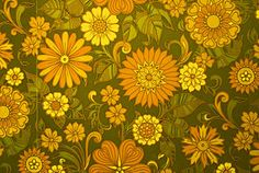 A typical example of 60s wallpaper. Note the pea green and saffron colours and the flowery psychedelic design, extremely common during this period.