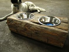 diy barn wood ideas | Wood Dog Dish Holder reclaimed oak barn beam