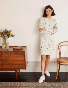 Romona Sweatshirt Dress - Ivory and Navy, Polka Cece Dresses, Day Dresses, Boden Uk, Sweatshirt Dress, British Style, Color Pop, Colour, Fall Outfits, My Style