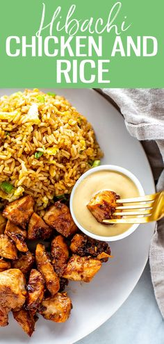 This Hibachi Chicken is just like the kind you get at Benihana - it's a delicious Japanese-inspired dish served with fried rice andsautéedvegetables Hibatchi Recipes, Asian Recipes, Cooking Recipes, Healthy Recipes, Asian Vegetables, Sauteed Vegetables, Chicken And Vegetables, Hibachi Fried Rice, Bon Appetit