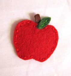 Apple Wool Felt Hair Clip or Ponytail Holder