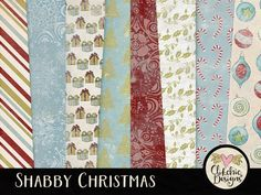 Shabby Christmas Digital Paper Pack - Christmas Digital Scrapbook Paper Pack Christmas Background Textures - Christmas Paper Pack by ClikchicDesign