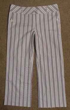Ann Taylor Loft 10 Beige Dress Pants Red Stripe Cropped Capri Stretch #AnnTaylorLoftStretch #CaprisCropped