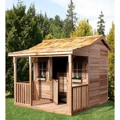 THE CEDARSHED RANCH HOUSE shed kits offer you a wonderful new living space in your backyard. Prefab cottage kits are available in 4 sizes and are made of Western Red Cedar. What an amazing addition to your back yard. Storage Shed Kits, Wood Storage Sheds, Barn Storage, Outdoor Storage, Cedar Shed, Wood Shed, Prefab Cottages, Cottage Kits, Pavillion