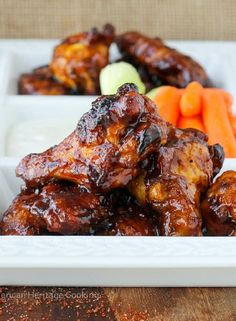 Low FODMAP Recipe and Gluten Free Recipe - Orange & maple sticky wings  www.ibssano.com/...