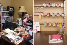 A messy desk can easily be transformed into home office heaven with a few magnetic strips and sorters.