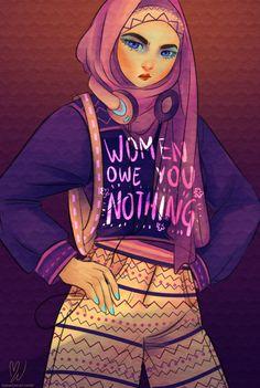 "thecarefree-art: "" procrastination = hijabi babe power Also available on my Society6 ! """