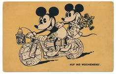 Disney Postcard - Mickey Mouse & Minnie on Wooden Bicycle