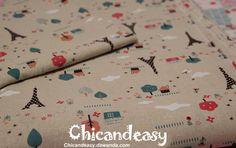 Eiffel tower linen cotton blended fabric in 140cm  von Chic and Easy auf DaWanda.com