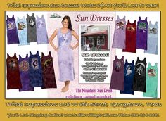 Huge Selection of Sun Dresses -Works Of Art You Will Love To Wear!  Inside Tribal Impressions - http://www.indianvillagemall.com/tshirtsundresses.html